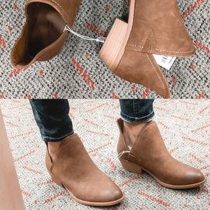 Universal Thread Faux Leather Cut Out Ankle Bootie